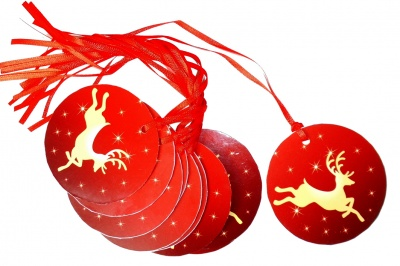Pack 10 Gift Tags with Ribbon Ties - RED/GOLD REINDEER