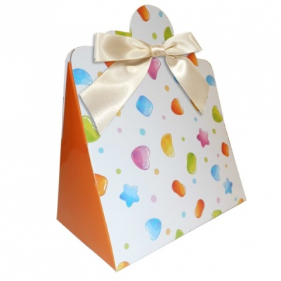 Triangle Gift Boxes with Mini Bows - LARGE CANDIES/CREAM BOWS (pk10)
