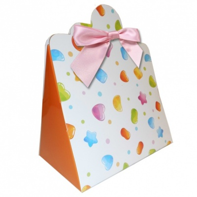 Triangle Gift Boxes with Mini Bows - LARGE CANDIES/PINK BOWS (pk10)