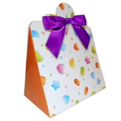 Triangle Gift Boxes with Mini Bows - LARGE CANDY/PURPLE BOWS (pk10)