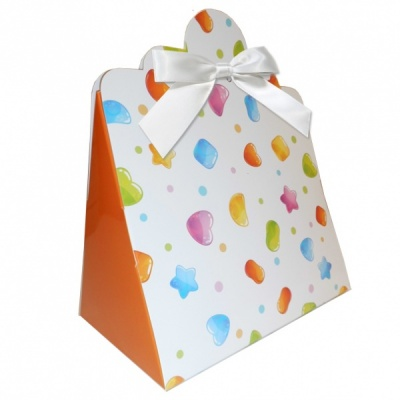 Triangle Gift Boxes with Mini Bows - LARGE CANDIES/WHITE BOWS (pk10)
