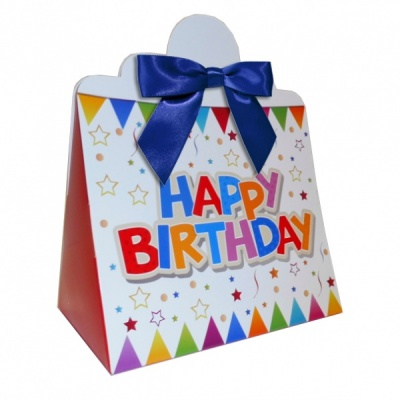 Triangle Gift Boxes with Mini Bows - LARGE BIRTHDAY/NAVY BOWS (pk10)
