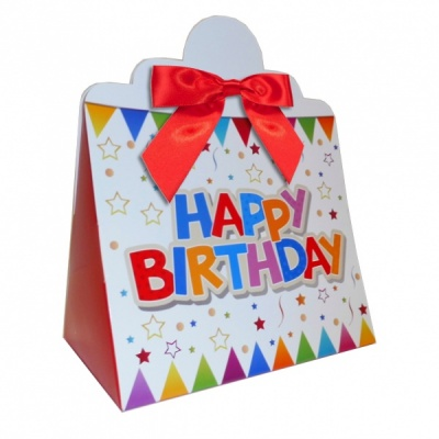 Triangle Gift Boxes with Mini Bows - LARGE BIRTHDAY/RED BOWS (pk10)