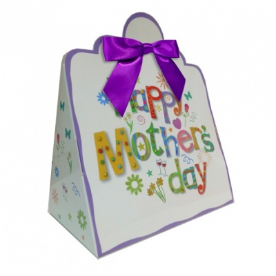 Triangle Gift Boxes with Mini Bows - LARGE MOTHER'S DAY/PURPLE BOWS (pk10)