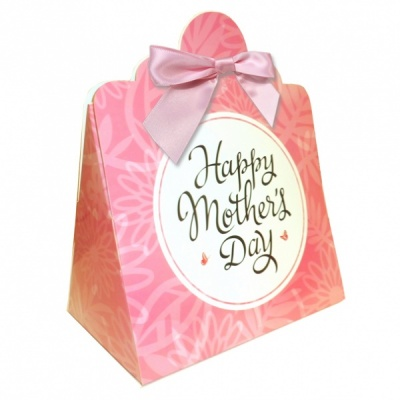 Triangle Gift Boxes with Mini Bows - LARGE FLOWERS/PINK BOWS (pk10)