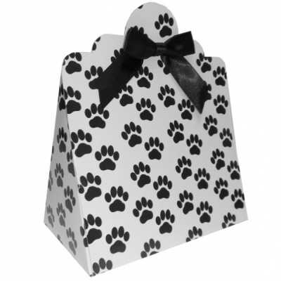 Triangle Gift Boxes with Mini Bows - LARGE PAW PRINTS/BLACK BOWS (pk10)