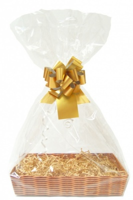 Complete Gift Basket Kit - (Small) WICKER TRAY / GOLD ACCESSORIES
