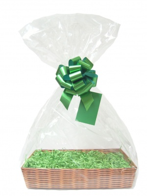 Complete Gift Basket Kit - (Small) WICKER TRAY / GREEN ACCESSORIES