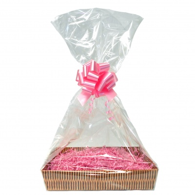 Complete Gift Basket Kit - (Small) WICKER TRAY / PINK ACCESSORIES
