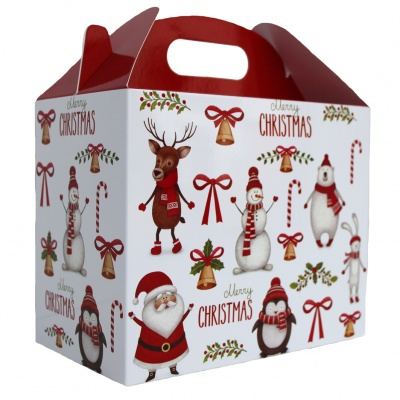 Pack of 10 GABLE BOXES 17x10x14cm - CHRISTMAS CHARACTERS