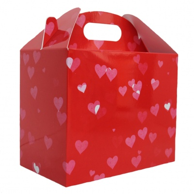 Pack of 10 GABLE BOXES 17x10x14cm - HEARTS