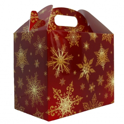Pack of 10 GABLE BOXES 17x10x14cm - RED/GOLD SNOWFLAKES