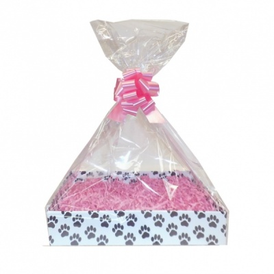 Complete Gift Basket Kit - (Small) PAW PRINTS EASY FOLD TRAY/PINK ACCESSORIES