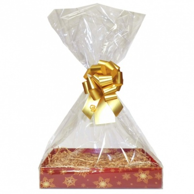Complete Gift Basket Kit - (Small) SNOWFLAKES EASY FOLD TRAY/GOLD ACCESSORIES