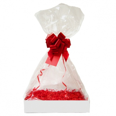 Complete Gift Basket Kit - (Small) WHITE EASY FOLD TRAY/RED ACCESSORIES