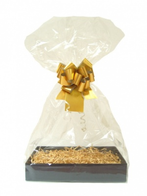 Complete Gift Basket Kit - (Medium) BLACK EASY FOLD TRAY / GOLD ACCESSORIES