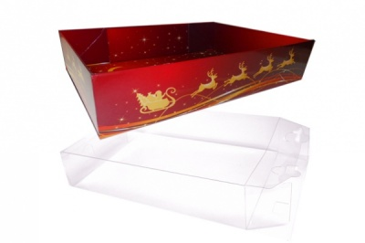 10 x Easy Fold Trays with Acetate Boxes - (20x15x5cm) SMALL REINDEER TRAYS/CLEAR ACETATE BOXES