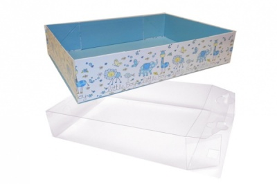 10 x Easy Fold Trays with Acetate Boxes - (35x24x8cm) LARGE LITTLE BOY TRAYS/CLEAR ACETATE BOXES
