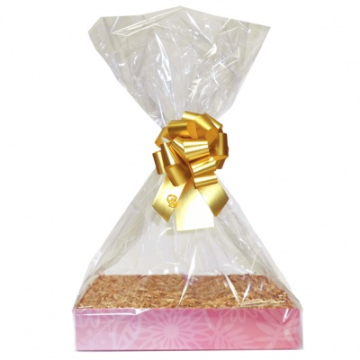 Complete Gift Basket Kit - (Small) PINK FLOWERS EASY FOLD TRAY/GOLD ACCESSORIES