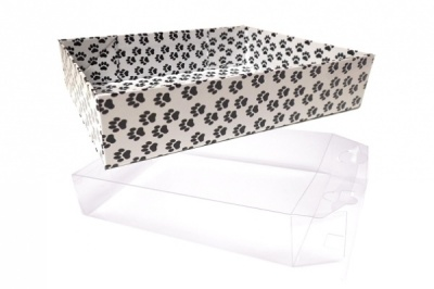 10 x Easy Fold Trays with Acetate Boxes - (20x15x5cm) SMALL PAW PRINT TRAYS/CLEAR ACETATE BOXES
