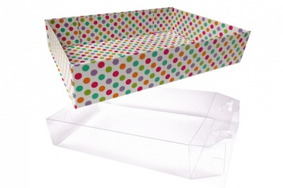 10 x Easy Fold Trays with Acetate Boxes - (20x15x5cm) SMALL SPOTTY TRAYS/CLEAR ACETATE BOXES