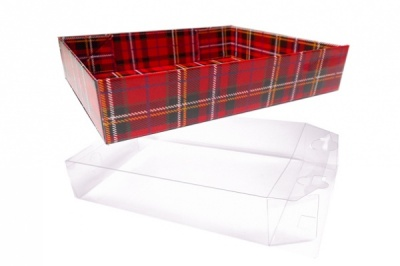 10 x Easy Fold Trays with Acetate Boxes - (20x15x5cm) SMALL TARTAN TRAYS/CLEAR ACETATE BOXES