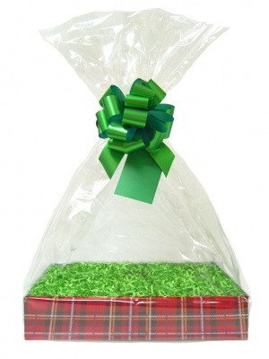 Complete Gift Basket Kit - (Medium) TARTAN EASY FOLD TRAY / GREEN ACCESSORIES