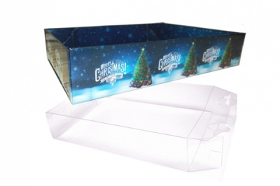 10 x Easy Fold Trays with Acetate Boxes - (20x15x5cm) SMALL CHRISTMAS TREE TRAYS/CLEAR ACETATE BOXES