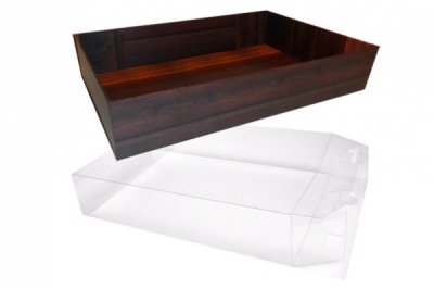10 x Easy Fold Trays with Acetate Boxes - (20x15x5cm) SMALL WOODEN CRATE TRAYS/CLEAR ACETATE BOXES