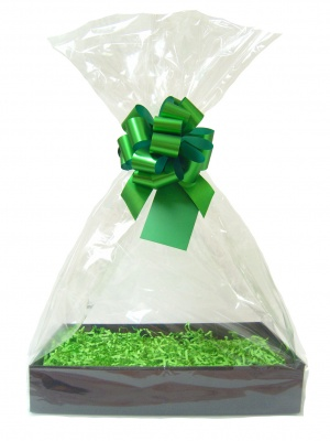 Complete Gift Basket Kit - (Large) BLACK EASY FOLD TRAY / GREEN ACCESSORIES