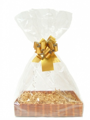 Complete Gift Basket Kit - (Small) WICKER EASY FOLD TRAY/GOLD ACCESSORIES