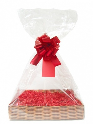 Complete Gift Basket Kit - (Small) WICKER EASY FOLD TRAY/RED ACCESSORIES