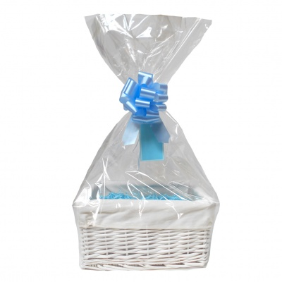 WHITE Wicker Storage Basket with CREAM Lining & BLUE Gift Accessory Kit - 30x22x15cm