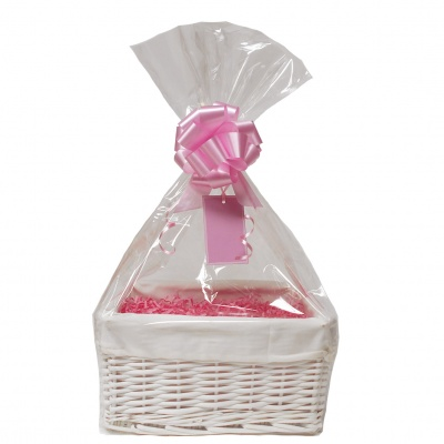 WHITE Wicker Storage Basket with CREAM Lining & PINK Gift Accessory Kit - 30x22x15cm