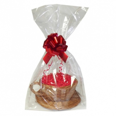 Gift Basket Kit - WICKER CUP & SAUCER / RED ACCESSORIES