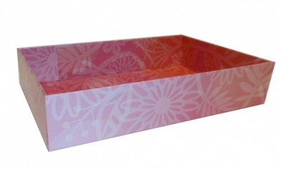 Easy Fold Gift Tray (30x20x6cm) - Medium PINK FLOWERS