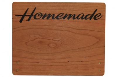 Cherry Wood Point of Sale Sign 330mm x 160mm - HOMEMADE