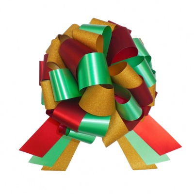 Multi-Colour Bow with 6m matching ribbon - RED/GOLD/GREEN