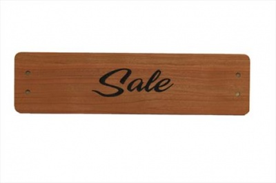 Small Cherry Wood Point of Sale Sign 250mm x 65mm - SALE