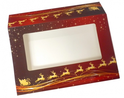 Sleeve with Window - 35x24x8cm (pk 10 Large) - REINDEER