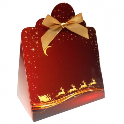 Triangle Gift Boxes with Mini Bows - LARGE REINDEER/GOLD BOWS (pk10)