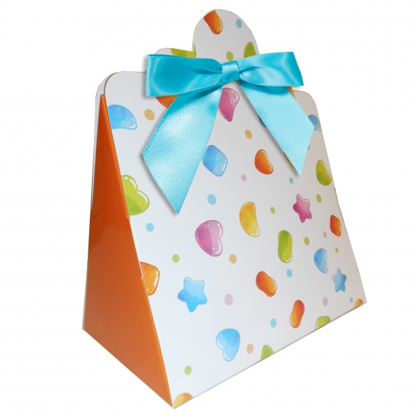 Triangle Gift Boxes with Mini Bows - LARGE CANDIES/BLUE BOWS (pk10)