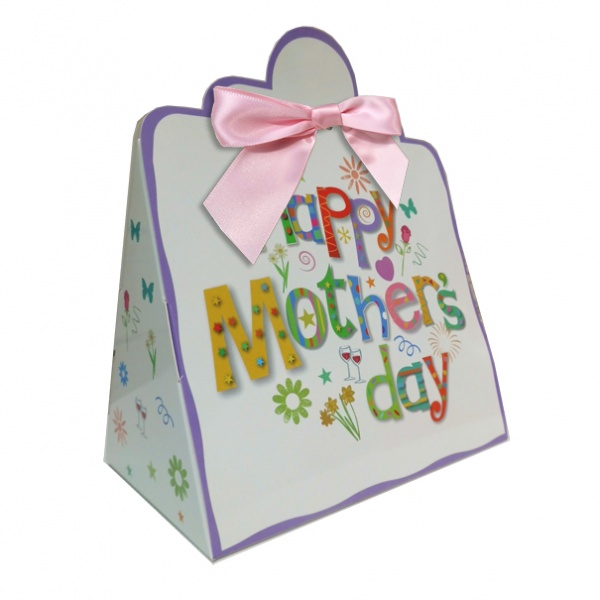 Triangle Gift Boxes with Mini Bows - LARGE MOTHER'S DAY/PINK BOWS (pk10)