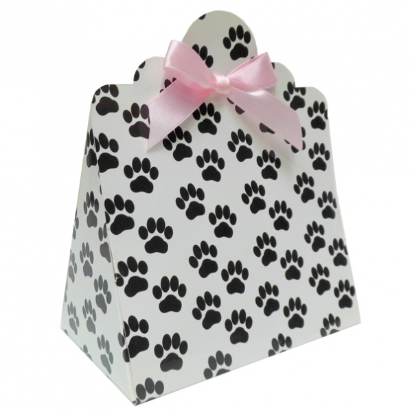 Triangle Gift Boxes with Mini Bows - LARGE PAW PRINTS/PINK BOWS (pk10)