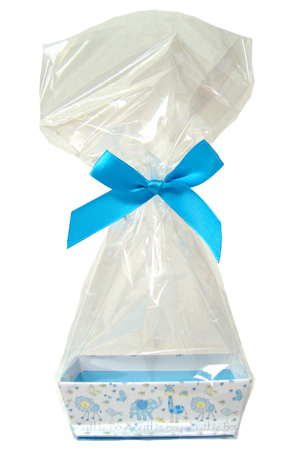 Printed MINI GIFT KITS with Cello Bag & Bow 12x8x4cm - LITTLE BOY/BLUE (x10)