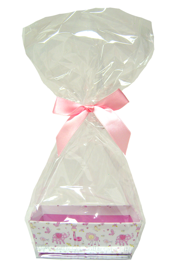 Printed MINI GIFT KITS with Cello Bag & Bow 12x8x4cm - LITTLE GIRL/PINK (x10)
