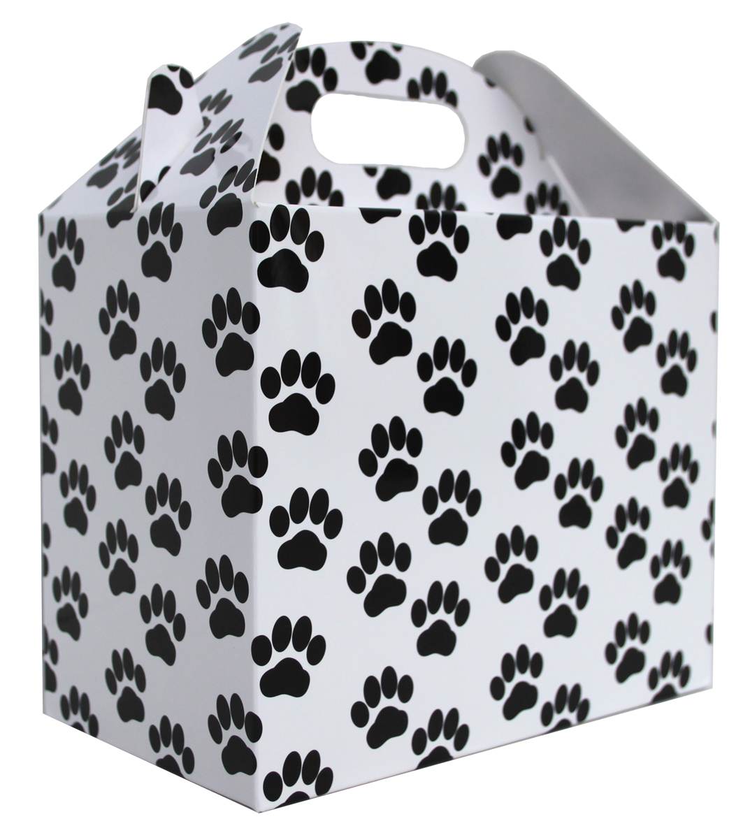 Pack of 10 GABLE BOXES 17x10x14cm - PAW PRINTS
