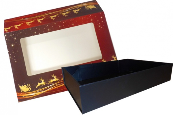 10 x Easy Fold Trays with Sleeves - (35x24x8cm) LARGE BLACK TRAYS/REINDEER SLEEVES