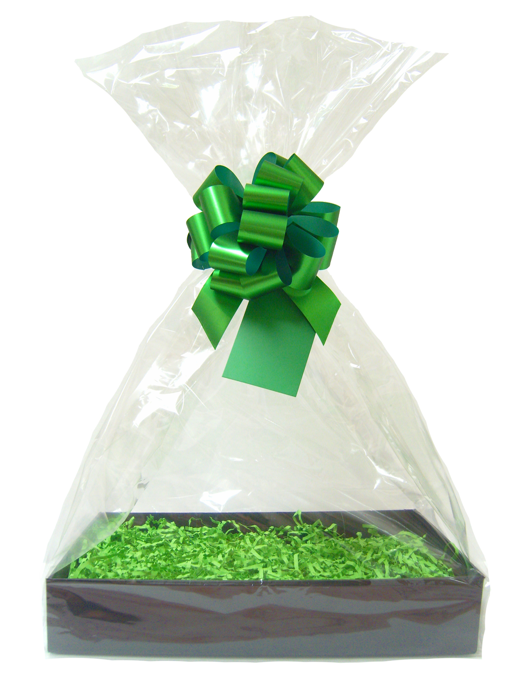 Complete Gift Basket Kit - (Small) BLACK EASY FOLD TRAY/GREEN ACCESSORIES