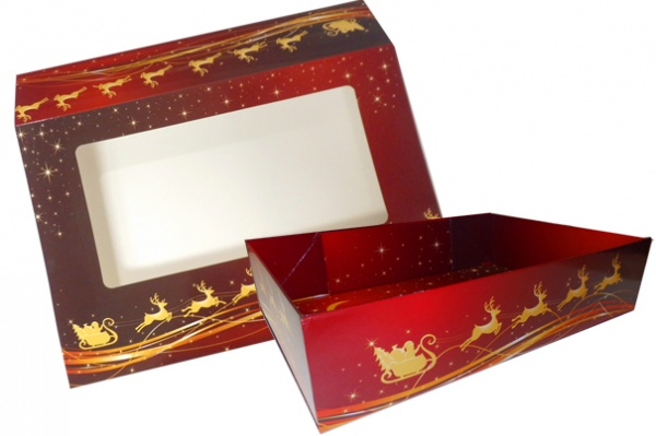 10 x Easy Fold Trays with Sleeves - (35x24x8cm) LARGE REINDEER TRAYS/REINDEER SLEEVES